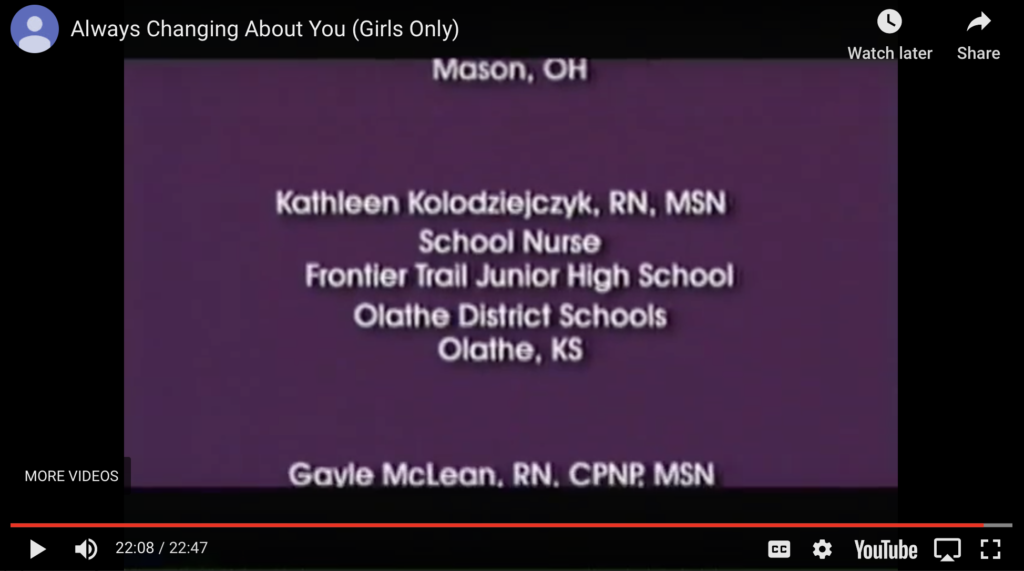 Screen shot from video with Kansas school nurse credited as a resource